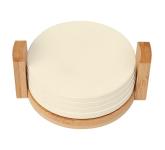 4-Coaster Set With Bamboo Holder