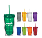 16 oz. Econo Double Wall Tumbler With Lid With Straw