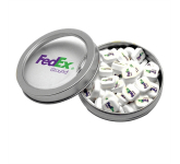 Candy Window Tin Short Round with Printed Mints