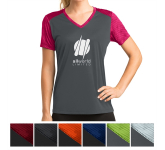 Sport-Tek Ladies' CamoHex Colorblock V-Neck Tee
