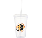 16 oz. Iceberg Double-Wall Tumbler With Straw