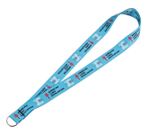 "Full Color 1"" Elastic Lanyard w/ Ring"
