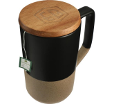 16 oz. Tahoe Tea & Coffee Ceramic Mug with Wood Lid
