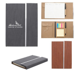 """5"""" x 7"""" Woodgrain Padfolio With Sticky Notes And Flags"""