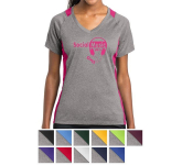 Sport-Tek Ladies' Heather Colorblock Contender V-Neck Tee