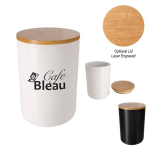 24 Oz. Ceramic Container With Bamboo Lid
