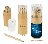 12-Piece Colored Pencil Set In Tube With Sharpener