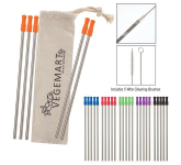 5-Pack Stainless Straw Kit with Cotton Pouch