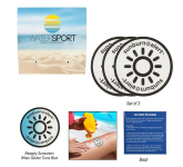 3-Pack Sunburn Alert UV Color-Changing Stickers With Cust...