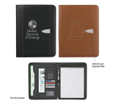 "Bonded Leather 8 1/2"" x 11"" Zipper Portfolio With Calculator"